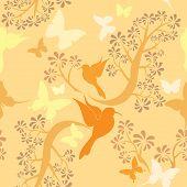 Vanille Lichtfarben Seamless Pattern mit Kolibris, Schmetterlinge und Bäumen