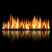 picture of furnace  - illustration of burning fire flame on black background - JPG