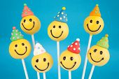 stock photo of cake-ball  - Birthday cake pops - JPG