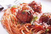 Meat balls with tomato sauce and spaghetti pasta