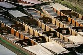 Row Of Wooden Punts