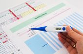 picture of rectal  - Electronic thermometer in woman hand - JPG