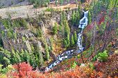 pic of undine  - Undine Falls on an autumn day in Yellowstone National Park of Wyoming - JPG
