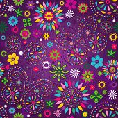 stock photo of lilas  - Seamless motley vivid violet floral pattern with colorful flowers butterflies and decorative circles  - JPG