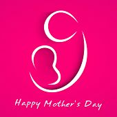 Beautiful Happy Mothers Day concept with line art on a mother with child on her lap on pink background.