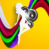 Musical dance party background. flyer or banner with paper cut out design of a dancing girl on colorful wave background.
