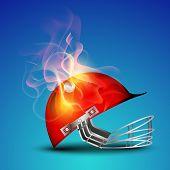 Cricket helmet in fire on blue background.