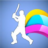 Illustration of a cricket batsman in playing action on glossy colorful wave background.