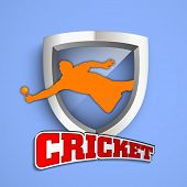 Cricket concept with winning shield on blue background.