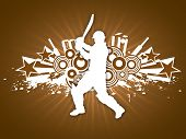 Illustration of a cricket batsman in playing action on abstract brown background.