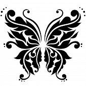 Ornamental black vector butterfly