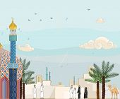 "Islamic prayer time ""Salah"" - High detailed vector illustration of islamic community in prayer time"