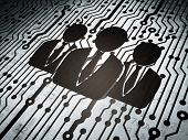 News concept: circuit board with Business People