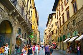 Tourists Walking In Crowded Street In Florence