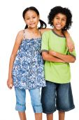 Young Boy and Girl Standing Together