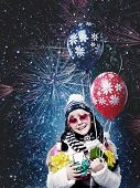 Merry Christmas. Funny Female Portrait With Fireworks On Background