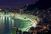 stock photo of ipanema  - Night view of Copacabana beach  Rio de Janeiro. Brazil