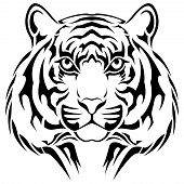 image of wildcat  - Vector tiger executed in the form of a tribal tattoo - JPG