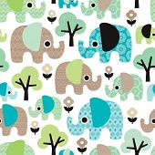 Seamless retro flowers elephant kids illustration pattern wallpaper background in vector