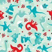 Seamless red and blue baby dinosaur animal illustration background pattern in vector