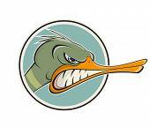 angry cartoon duck