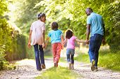 foto of grandparent child  - Grandparents With Grandchildren Walking Through Countryside - JPG