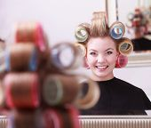 Cheerful Happy Blond Girl Hair Curlers Rollers Hairdresser Beauty Salon