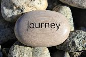 stock photo of karma  - Positive reinforcement word Journey engrained in a rock - JPG