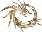 golden dragon rring on white background