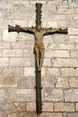 Cross inside of the Basilica of St-Saveur in Rocamadour, France