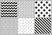 stock photo of dots  - Set of 6 black and white Scandinavian trend seamless pattern  - JPG