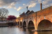 stock photo of avon  - The old footbridge over the River Avon - JPG