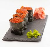 Gunkan Sushi Maki Isolated On White Background