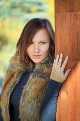 Beautiful Woman In Faux Fox Fur Waistcoat