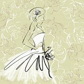 art sketch of beautiful young  bride with the bride's bouquet on floral sepia background with space for text; #29