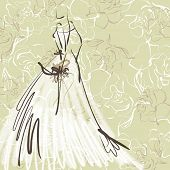 art sketch of beautiful young  bride with the bride's bouquet on floral sepia background with space for text; #47