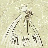 art sketch of beautiful young  bride with the bride's bouquet on floral sepia background with space for text; #43
