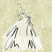 art sketch of beautiful young  bride with the bride's bouquet on floral sepia background with space for text; #38