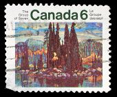 CANADA - CIRCA 1970: stamp printed by Canada, shows Isle of Spruce, by Arthur Lismer, circa 1970