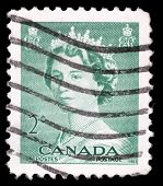 CANADA - CIRCA 1953: A stamp printed in Canada shows Queen Elizabeth II, circa 1953.