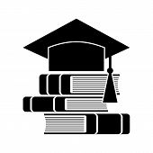 Celebrating Graduating Hat And Books, Education Symbol