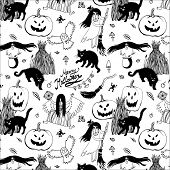halloween black and white pattern with brooms, cats, pumpkins, haystacks, owls and witches