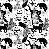 halloween black and white pattern with broom, cats, pumpkin, haystack