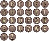 Button alphabet. Letters made of metal.