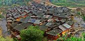 Asian Village In China, Wooden Houses With Tiled Roofs.