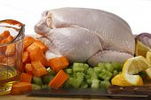 A raw chicken and the ingredients for pot-roasting it - olive oil, carrots, lemon, onion and celery against a white background