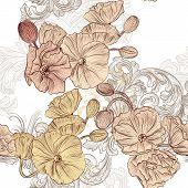 Seamless Pattern mit Mohn Blumen