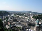View of the town Salzburg taken from fortress Hohensalzburg