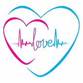Heartbeat Love Text And Heart Symbol