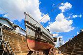 Boat under repair in dock yard